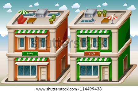 Vector illustration of store and cafe