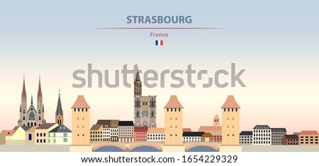 Vector illustration of Strasbourg city skyline on colorful gradient beautiful daytime background