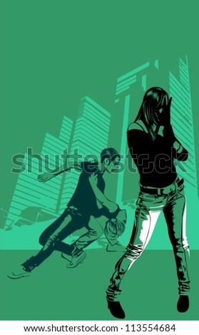 vector illustration of street dance in city