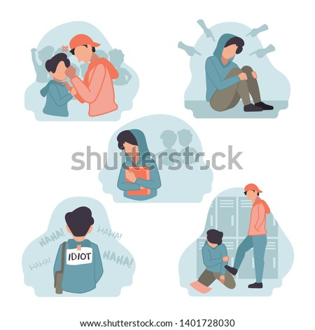 Vector Illustration of stress depression sad shocked male boy junior high school student bullied by senior teacher friend in college corridor hurt Hate speech, harassment, body shaming, gossip, pinch