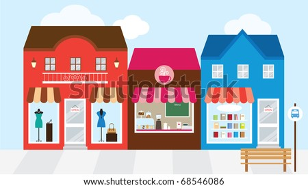 Vector illustration of strip mall shopping center.