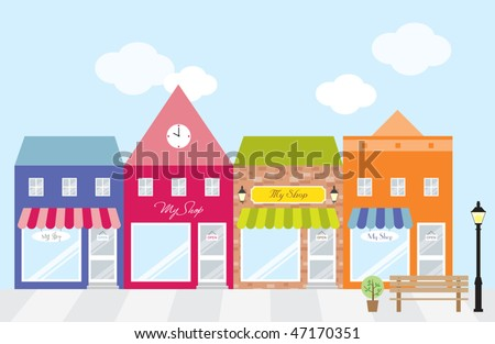 Vector illustration of strip mall shopping center. Each store is individually grouped. Window display can be easily edited if you want to add merchandise to display. No gradient used.