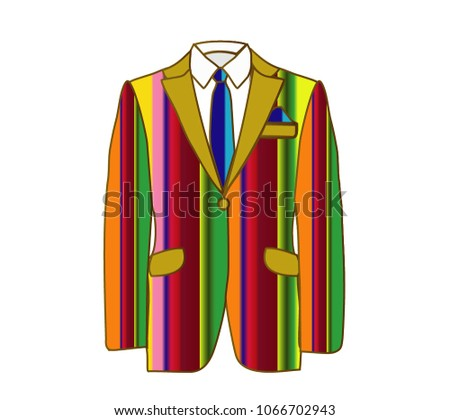 Vector illustration of striped man suit with blue tie and white shirt on white background. Business suit, business, mens suit, man in suit