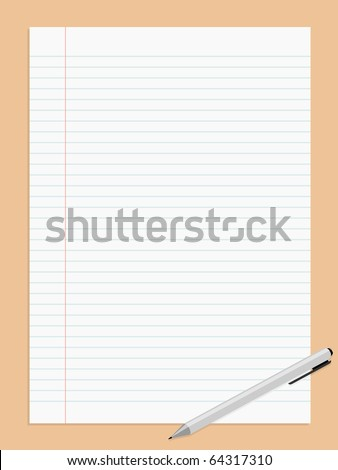 Vector illustration of striped paper sheet and pen