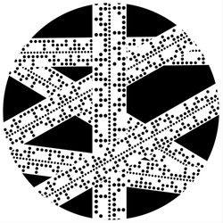 Vector Illustration of strips of overlapping paper containing Baudot Code as used in telegraph communications in a black circle