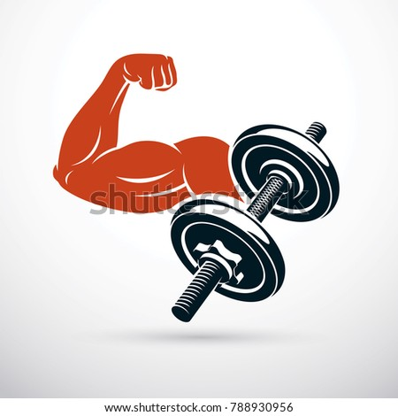 Vector illustration of strong man biceps arm and dumbbell. Weight lifting gym symbol, sports club.