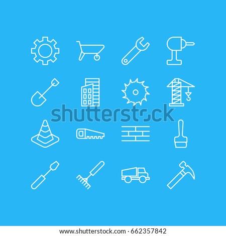 Vector Illustration Of 16 Structure Icons. Editable Pack Of Circle Blade, Cogwheel, Apartment And Other Elements.