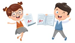 Vector Illustration Of Student Showing Diploma