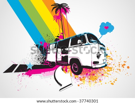 Vector illustration of style Decorative urban background with funny retro bus