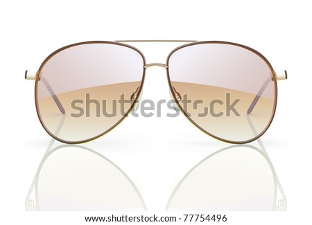 Vector illustration of stylish aviator sunglasses with reflection