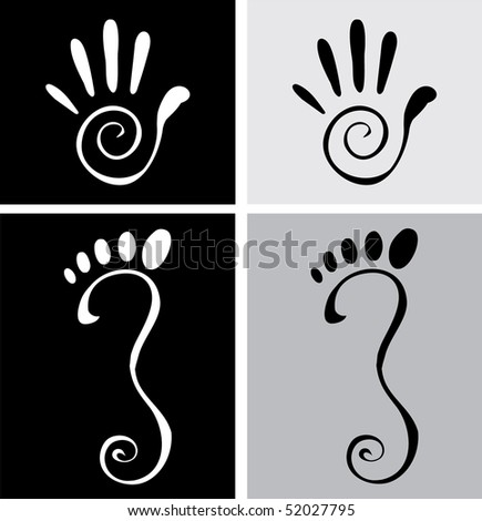 Vector illustration of stylized hand and foot
