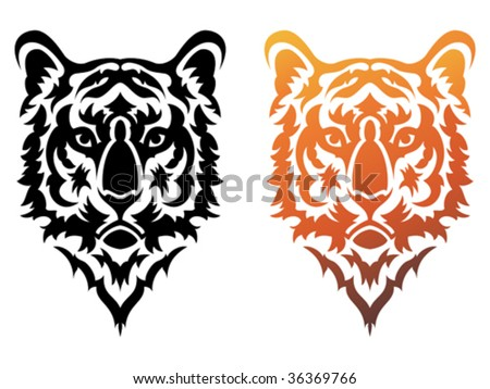 stock vector : Vector illustration of stylized tribal tiger tattoo.