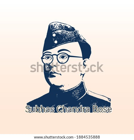 Vector Illustration of Subhas Chandra Bose Portrait in, a freedom fighter of India