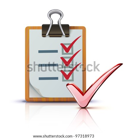 Vector illustration of success concept with cool check list on clipboard
