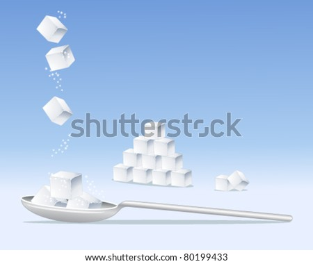vector illustration of sugar cubes and silver spoon on blue in eps 10 format
