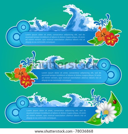 Vector illustration of summer beach banners set