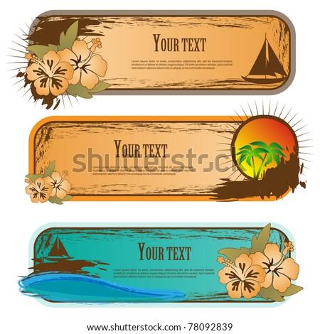 Vector illustration of summer beach banners set