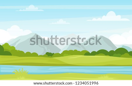 Stock Photo Vector illustration of summer landscape with mountains and river. Beautiful mountains view in cartoon flat style, good background for your banner design.