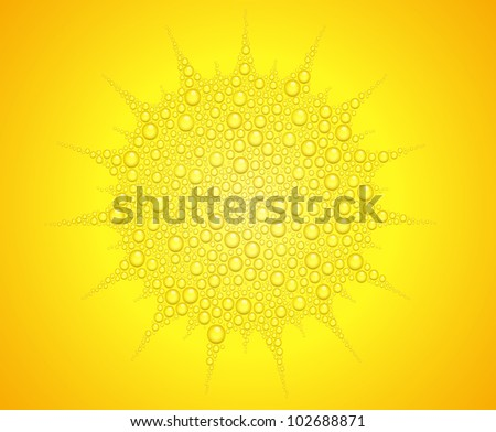Vector illustration of sun from water drops on orange background