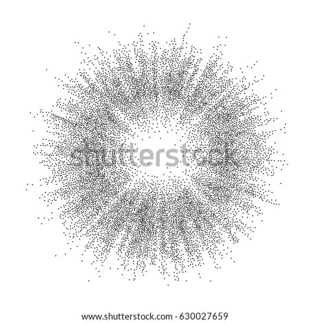 Vector illustration of sunburst background consist of black dots on white backdrop. Abstract dotted geometric template with halftone effect for vintage design