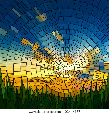 Vector illustration of sunset in blue sky in grass stained glass window.