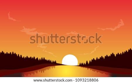 vector  illustration of sunset