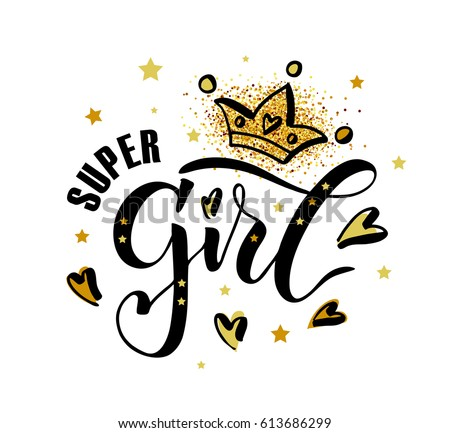Vector illustration of Super Girl text for clothes. Kids badge tag icon. Inspirational quote card invitation banner. Feminine calligraphy background. Celebration lettering typography poster.EPS 10