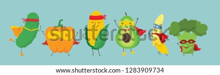 Vector illustration of Superhero fruits and vegetables set in the flat cartoon comic style  #1283909734