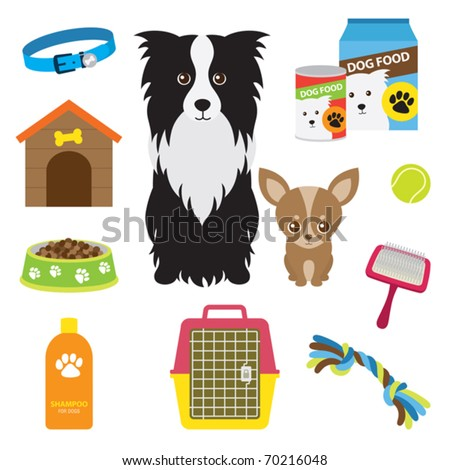 Vector illustration of supplies for dog.