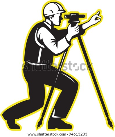 vector Illustration of surveyor civil geodetic engineer worker with theodolite total station equipment done in retro woodcut style.