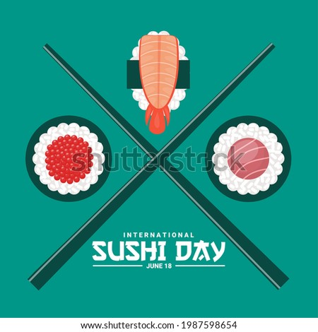 Vector illustration of sushi rolls, fish roe sushi,nigiri sushi and salmon sushi, as a banner, poster or template, international sushi day.