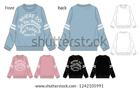 Vector illustration of sweatshirt. Front and back views.