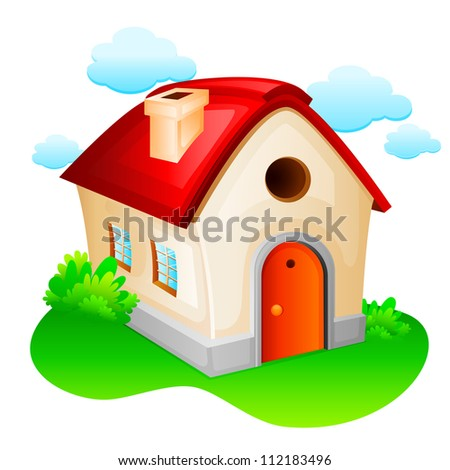 vector illustration of sweet home against natural background