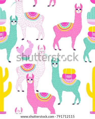 Vector illustration of Sweet Llama or alpaca and cactus. Seamless pattern of Hand draw llama. South america's llama illustration pattern for fabric, wallpaper, for kids goods. Cute Alpaca.