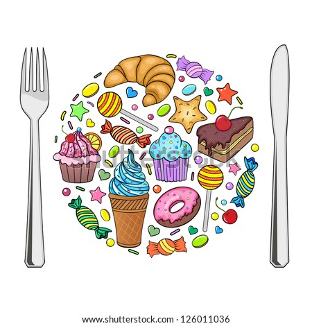 Vector illustration of sweets in the shape of plate isolated on a white background