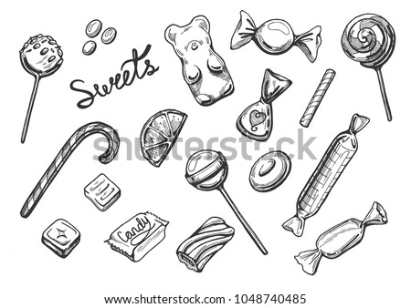 Vector illustration of sweets set. Chocolate candies, lollipops, marshmallow, lozenges, marmalade, dragee, drops. Vintage hand drawn engraving style.