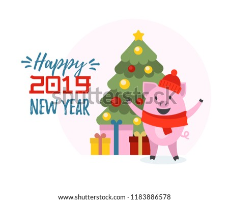 Vector illustration of 2019. Symbol of Chinese New Year 2019. Cute pig and christmas tree illustrations with Happy New Year text for logo, icon, card. EPS 10. #1183886578