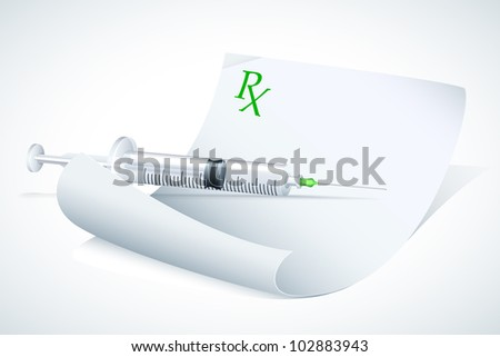 vector illustration of syringe on prescription paper