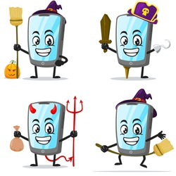 vector illustration of tablet character or mascot collection set with love or halloween theme