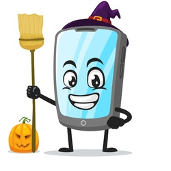 vector illustration of tablet character or mascot wearing witch costume and holding broom