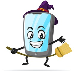 vector illustration of tablet character or mascot wearing witch costume and ride flying broom