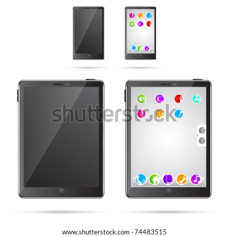 Vector illustration of tablet pc and mobile phone