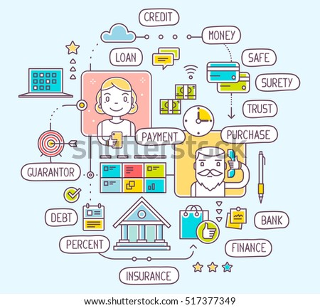 Vector illustration of talking man and woman by phone about taking and a consumer loan repayment on blue background. Thin line art flat design of decision on bank credit