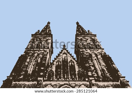 Vector illustration of tall gothic cathedral in two editable colors. Perspective view.