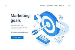 Vector illustration of target with arrow amidst charts representing marketing goals achievement near description and link button on web banner. Isometric web banner, landing page template