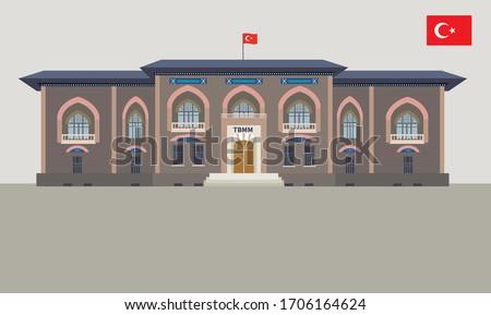 Vector Illustration of TBMM, History Buliding of Turkey, Ankara, Translation: The Grand National Assembly of Turkey, Ankara