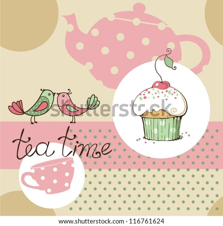 vector illustration of tea party set