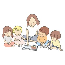 Vector illustration of teacher & little students reading books together. Early childhood development, learning & education, nursery, kindergarten, elementary school concept. Cartoon character drawing.
