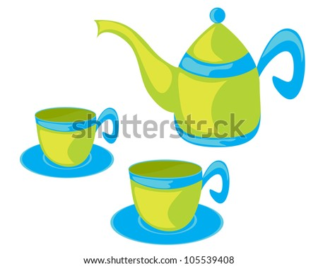 Vector illustration of teapot and cups.