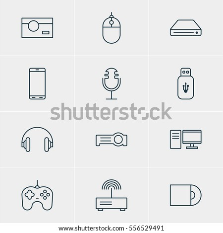 Vector Illustration Of 12 Technology Icons. Editable Pack Of Memory Storage, PC, Cursor Controller And Other Elements.